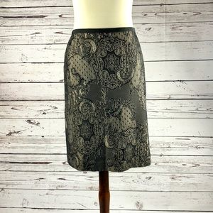 ANN TAYLOR Black Nude Lace Pencil Skirt